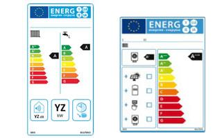 Etiqueta energética para calefacción y caldera mixta con agua caliente