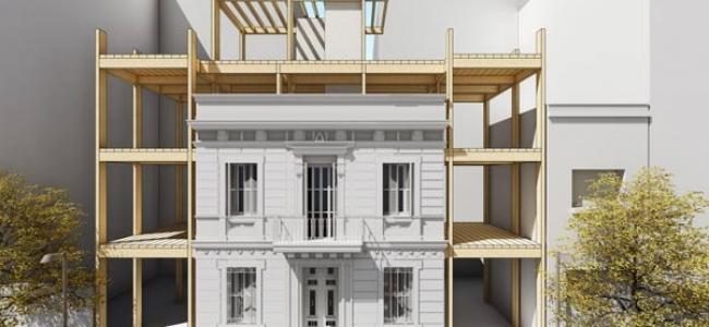 Un edificio de madera que ahorra energía con consumo de energía casi nulo en calefacción y refrigeración