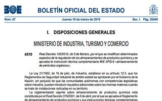 Disposición 67 del BOE: Normativas sobre el almacenaje de productos químicos