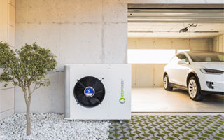 bomba de calor Ecoforest ecoAIR en un garaje