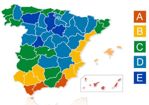 Mapa de zonas climáticas en España