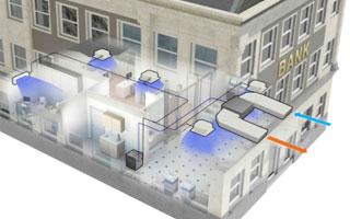 Sistema de climatización VRV IV indoor instalado en un edificio comercial