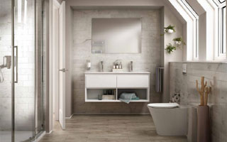 Serie de baño con inodoro, lavabos y ducha Connect Air de Ideal Standard