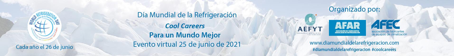 Dia mundial de la refrigeracion banner izquierdo baño y agua junio 2021