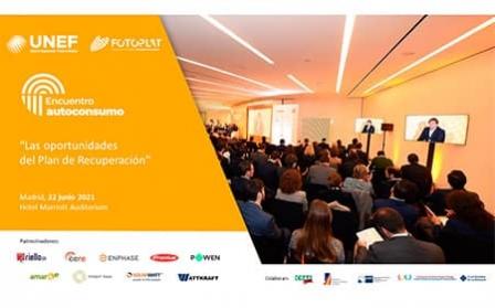 UNEF organiza el primer 'Encuentro de autoconsumo: las oportunidades del plan de recuperación' en formato presencial