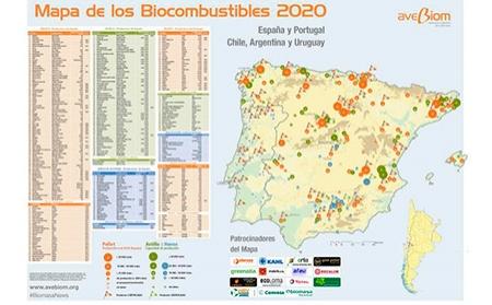 AVEBIOM publica el mapa de los Biocombustibles Sólidos 2020