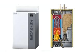 Nueva caldera de pellets automática Hargassner NANO-PK  de 20 a 32 kW, para instalar es pequeños espacios