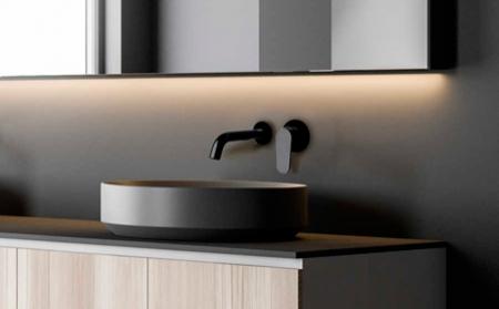 Grifo monomando de lavabo empotrado negro mate de la colección Alexia de Ramon Soler®