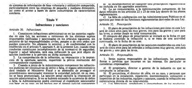 Resumen del Régimen Sancionador de Infracciones Administrativas; Ley de Industria 21/1992