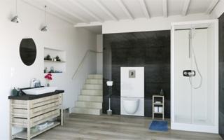 SANIWALL Pro UP, la solución de SFA Sanitrit para crear un baño suspendido